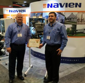 14 0910 Navien NCB Wins Comfortech Product Showcase Award Brian Fenske + Eric Ashley3